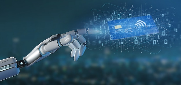 Cyborg hand holding a contactless credit card payment concept Premium Photo
