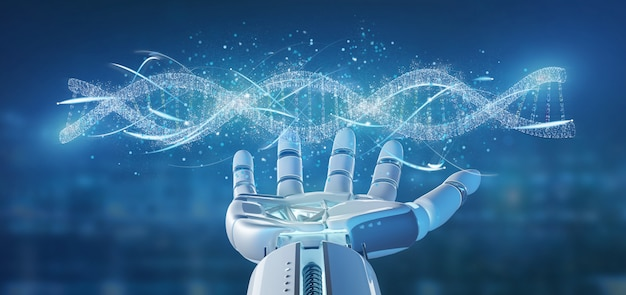Cyborg hand holding a dna branch 3d rendering Premium Photo