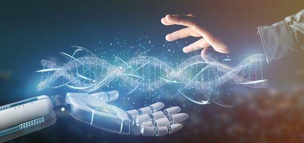 Cyborg hand holding a dna branch Premium Photo