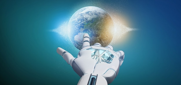 Cyborg hand holding a earth globle particles 3d rendering Premium Photo