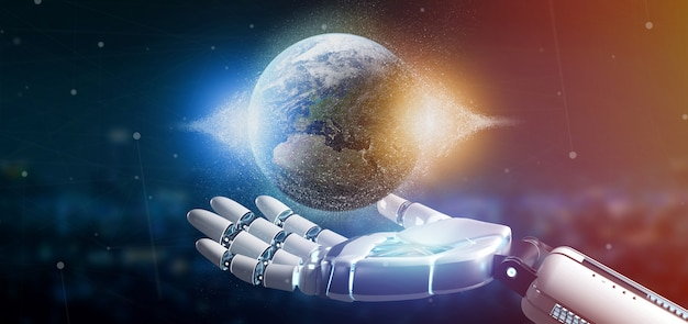Cyborg hand holding a earth globle particles Premium Photo
