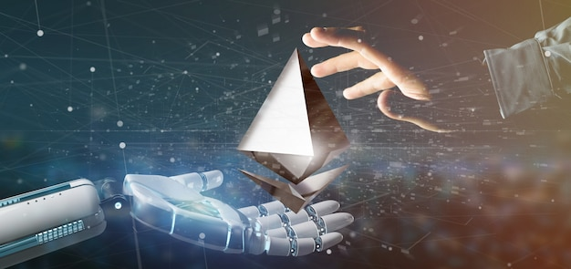 Cyborg hand holding a ethereum crypto currency sign flying around a network connection - 3d rendering Premium Photo