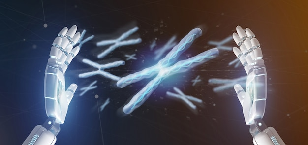 Cyborg hand holding a group of chromosome with dna inside isolated on a Premium Photo