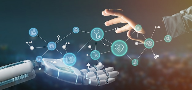 Cyborg hand holding a  medical icon and connection 3d rendering Premium Photo