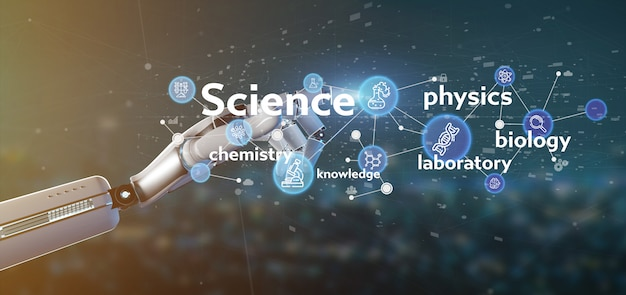 Cyborg hand holding science icons and title Premium Photo
