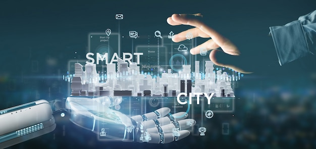 Cyborg hand holding smart city user interface with icon, stats and data 3d rendering Premium Photo