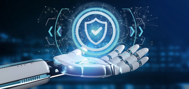 Cyborg hand holding a technology security icon on a circle Premium Photo
