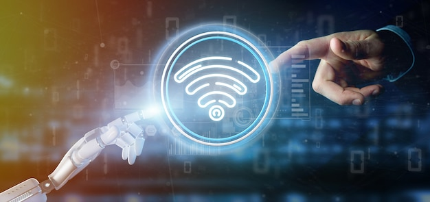 Cyborg hand holding wifi icon with stats and binary code Premium Photo