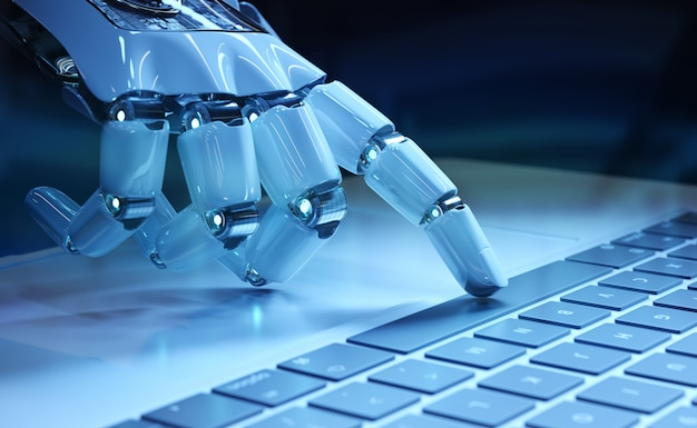 Cyborg hand pressing a keyboard on a laptop Premium Photo
