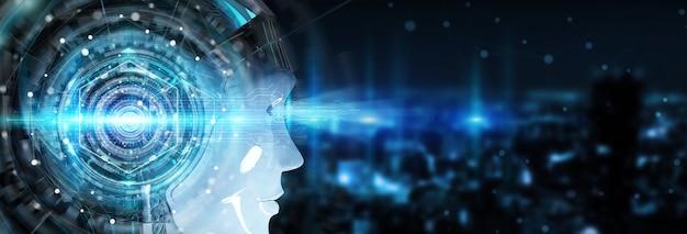 Cyborg head using artificial intelligence to create digital interface 3d rendering Premium Photo
