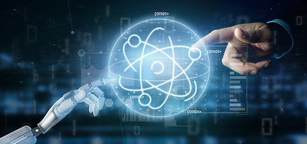 Cyborg holding an atom icon surrounded by data Premium Photo