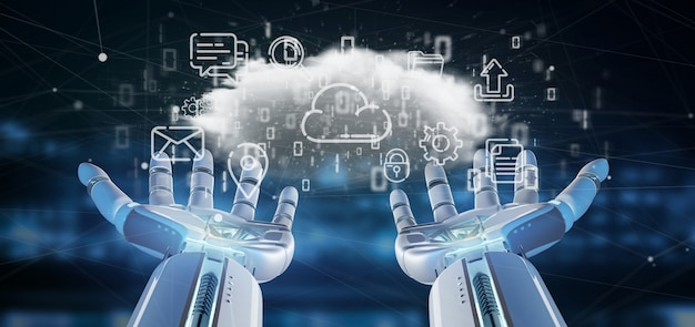 Cyborg holding a cloud of multimedia icon 3d rendering Premium Photo