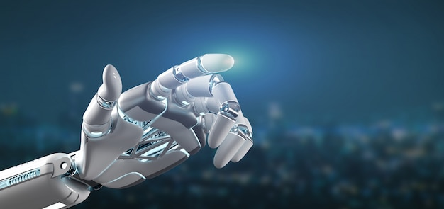 Cyborg robot hand on a city background 3d rendering Premium Photo