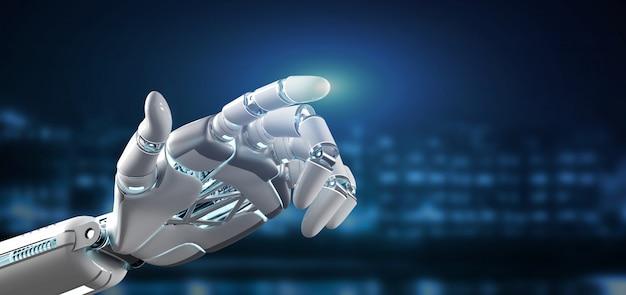 Cyborg robot hand oncity 3d rendering Photo | Premium Download