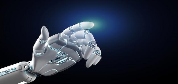 Cyborg robot hand onn uniform  3d rendering Premium Photo