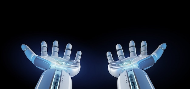 Cyborg robot hand on an uniform  3d rendering Premium Photo