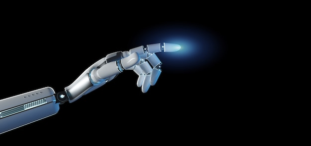 Cyborg robot hand on an uniform Premium Photo