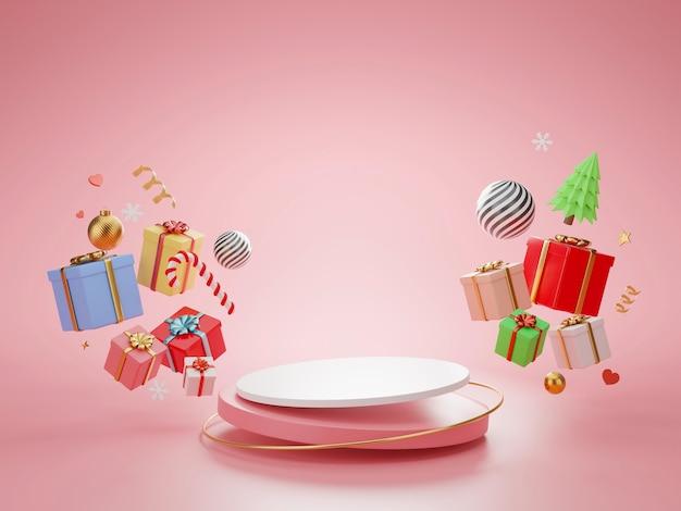クリスマスのシリンダー表彰台と最小限の抽象的な背景、3dレンダリングの幾何学的形状、製品のステージ。 Premium写真