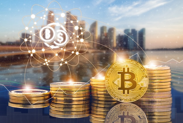 Cyptocurrency digital coin trading and exchange market concept. Premium Photo