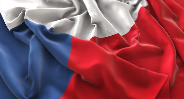 Czech republic flag ruffled beautifully waving macro close-up shot Free Photo