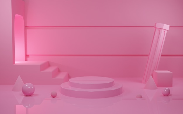 D rendering pink pastel podium scene for procuct presentation with light tunel Premium Photo