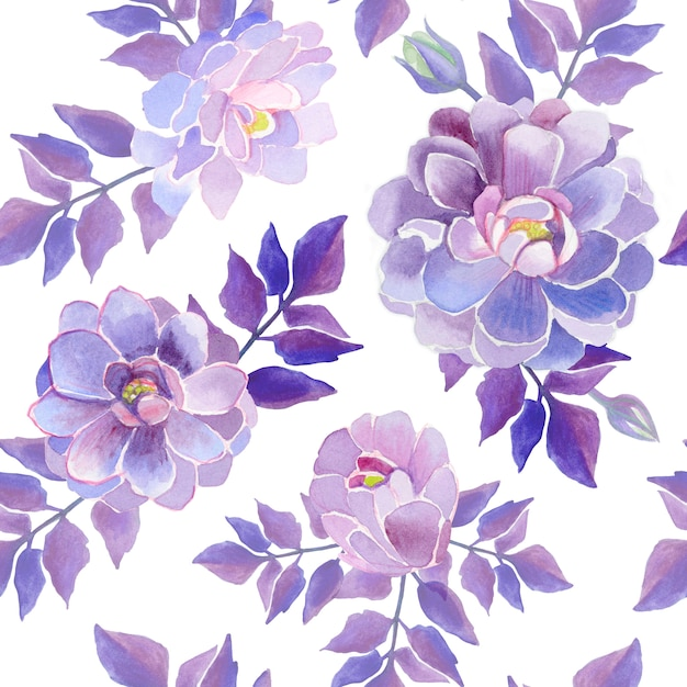 Dahlias watercolor flowers. purple beautiful flowers. Premium Photo