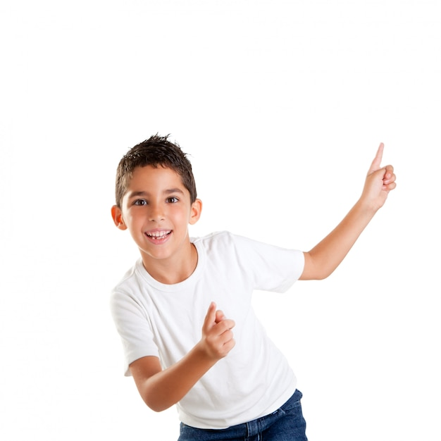 Dancing happy children kid boy with fingers up isolated on white Premium Photo