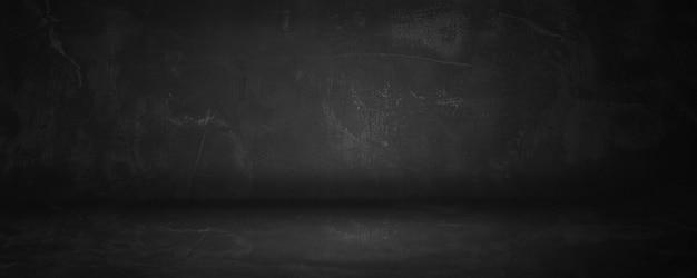 Темно-черная бетонная и цементная стена и студия для презентации продукта и фона Premium Фотографии