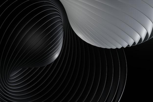 Dark background with black line curve design. abstract background, modern design, 3d rendering Premium Photo