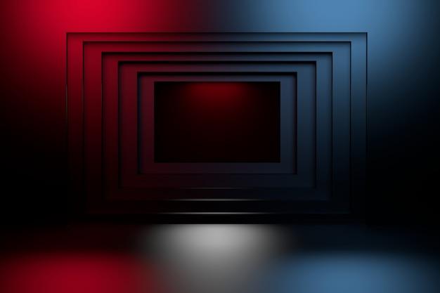 Синий и красный геометрический квадратный тоннель в стене. Premium Фотографии