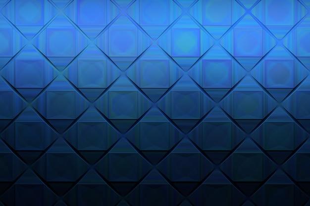 Dark blue pseudo metallic pattern with squares Premium Photo
