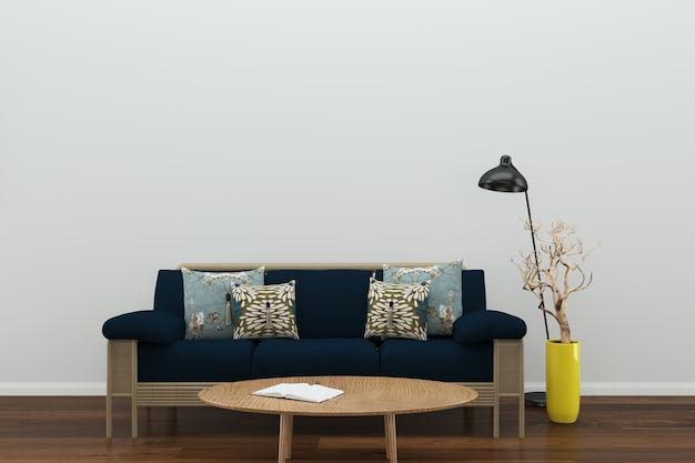 Brilliant Dark Blue Sofa Brick Wall Chair Lamp Wood Floor Wooden Table Evergreenethics Interior Chair Design Evergreenethicsorg
