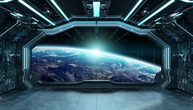 Dark blue spaceship futuristic interior with window view on planet earth 3d rendering Premium Photo