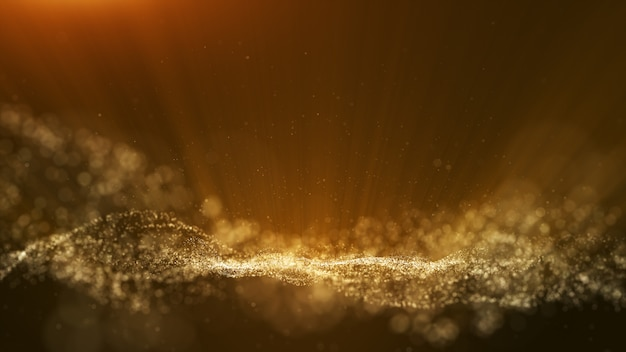 Dark brown background, digital signature with particles. Premium Photo