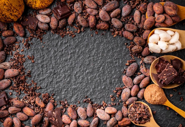 Dark chocolate pieces crushed and cocoa beans frame background, top view Premium Photo