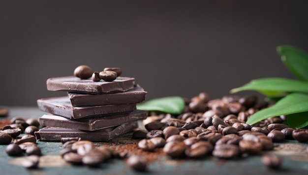 Dark chocolate with coffee beans Free Photo