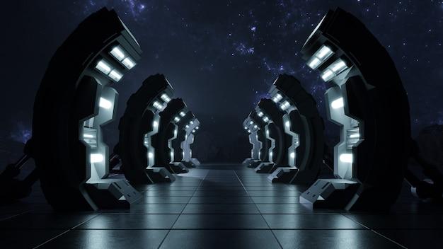暗い空の廊下が未来への扉。 無料写真