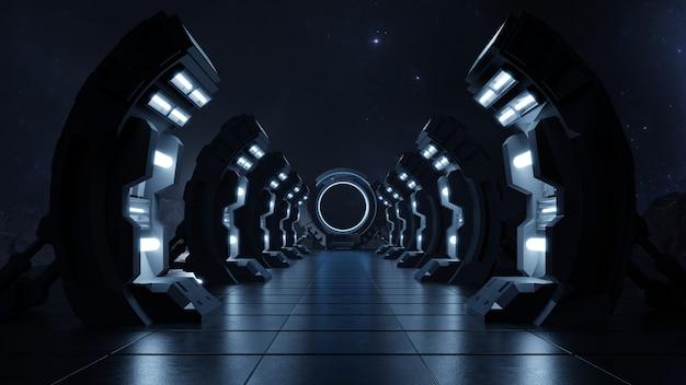 Темный пустой коридор, дверь в будущее. Бесплатные Фотографии