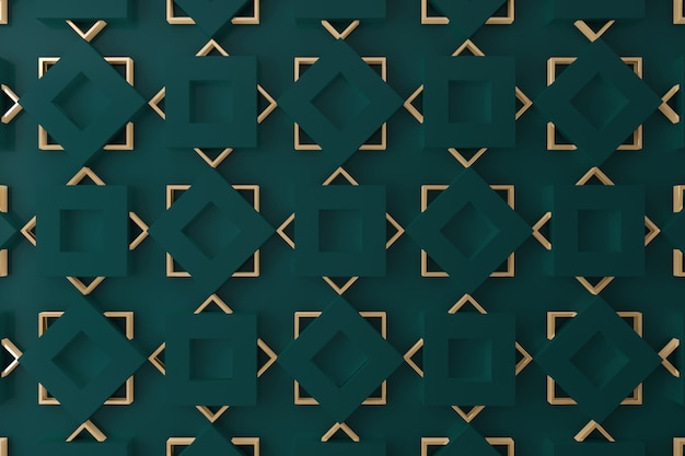 Dark Green And Gold 3d Wall For Background Backdrop Or Wallpaper