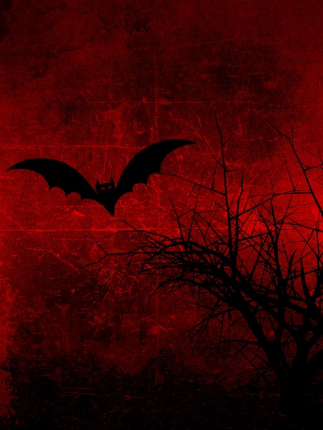 Dark grunge background with spooky tree and bat Free Photo