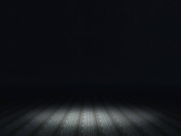 Dark grunge interior with spotlight shining on wooden floor Free Photo