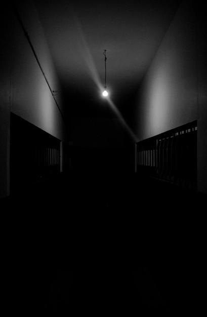 Dark Hallway With A Single Light Free Photo