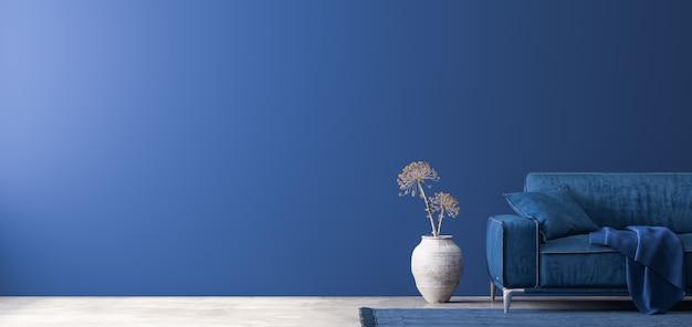 Premium Photo Dark Home Decor With Blue Furniture