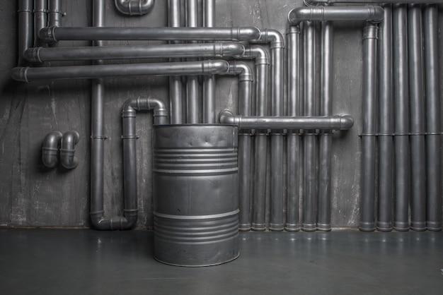 Premium Photo Dark Industrial Interior With Steam Pipes