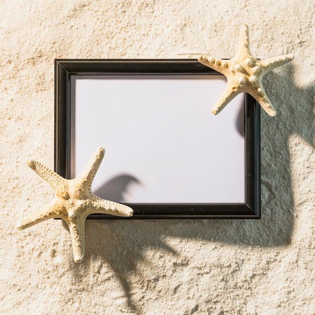 Dark photo frame with starfishes Free Photo