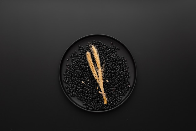 Dark plate with beans on a dark background Free Photo