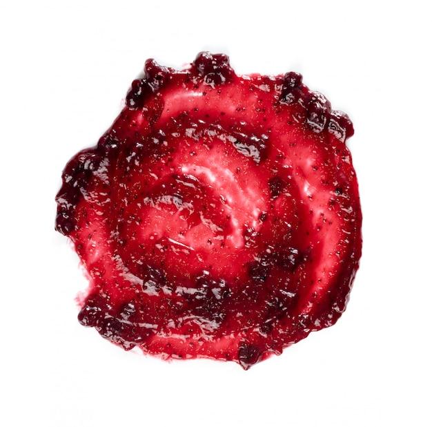 Dark red berry jam round blot frame or spot isolated Premium Photo