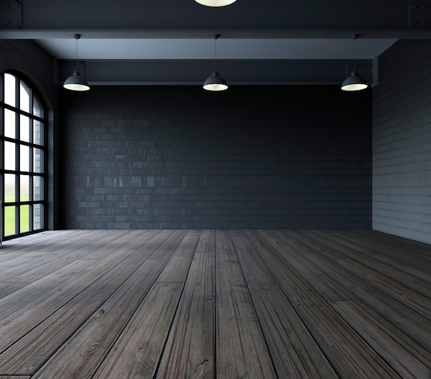 Dark room with wooden floor Free Photo