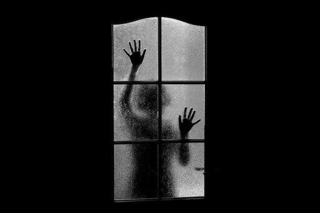 Dark silhouette of girl behind glass Premium Photo