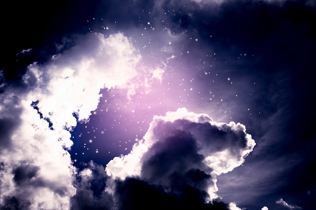 Dark space background of night sky with cloud and stars Premium Photo